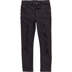 Boys black ripped Sid skinny jeans