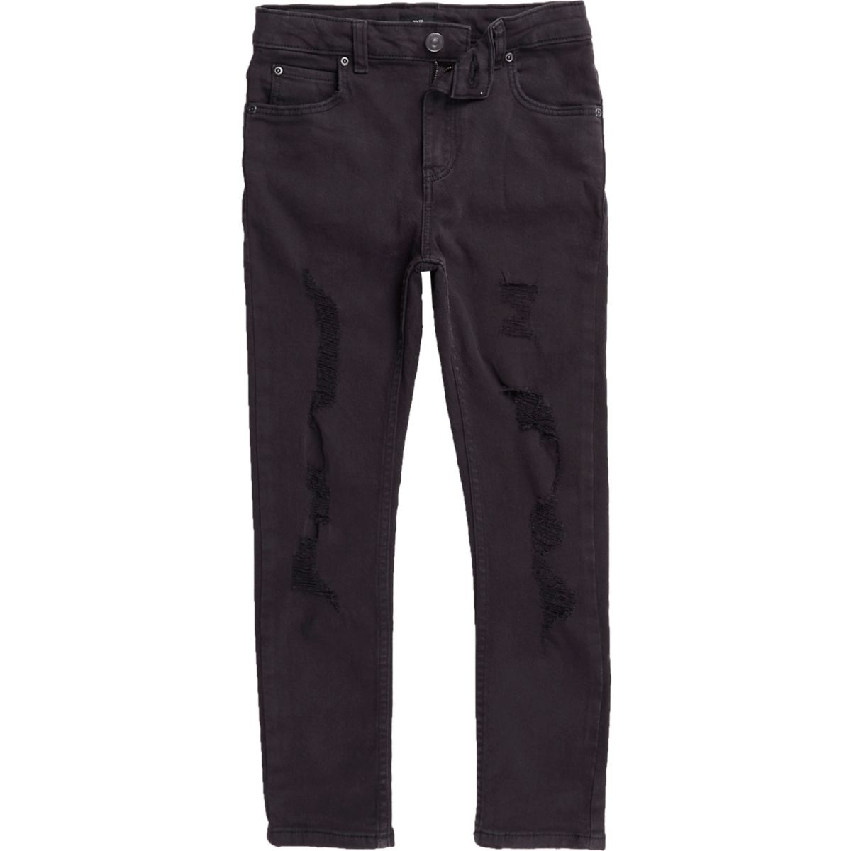 Boys black ripped Sid skinny jeans