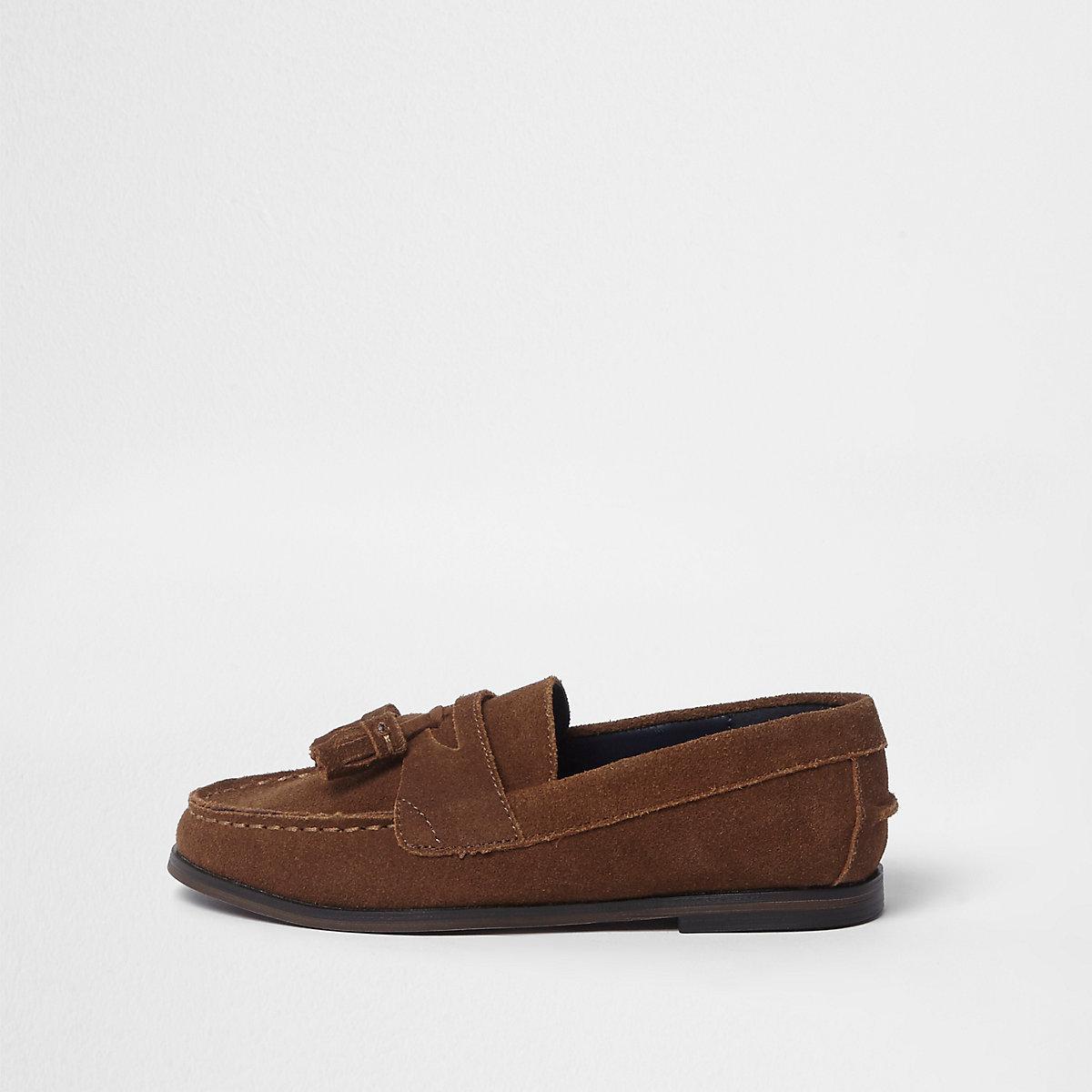 Boys tan suede tassel loafers