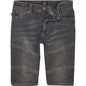 Boys grey Dylan biker slim fit denim shorts