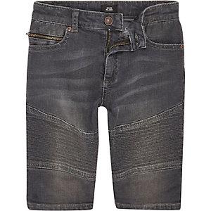 Boys grey Dylan biker slim fit denim shorts