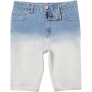 Sid - Blauwe dip dye skinny denim short voor jongens