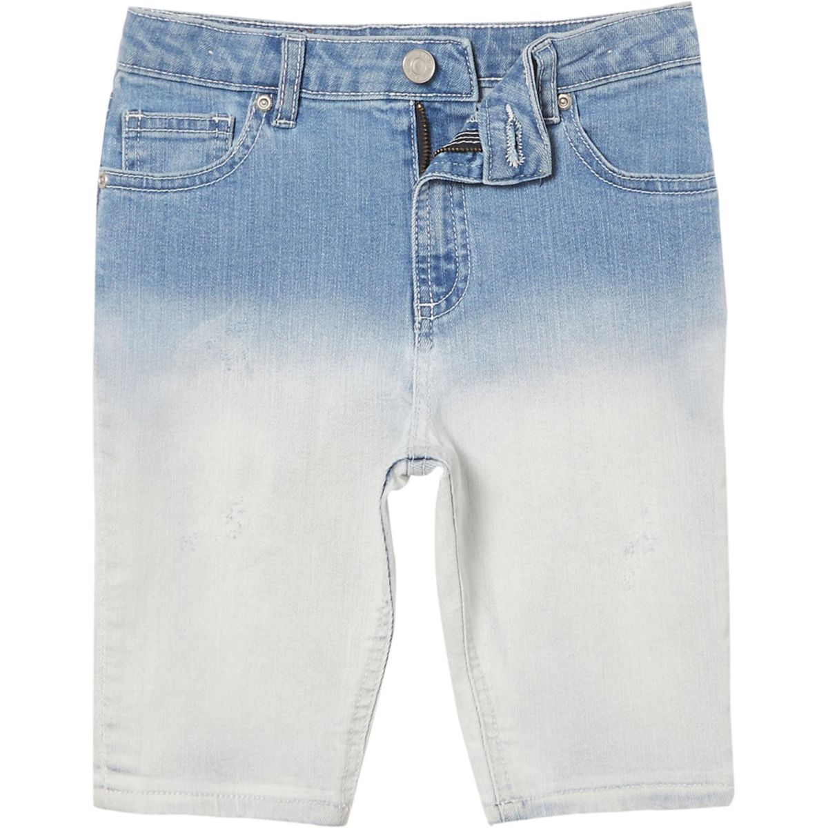 Boys blue Sid dip dye skinny denim shorts