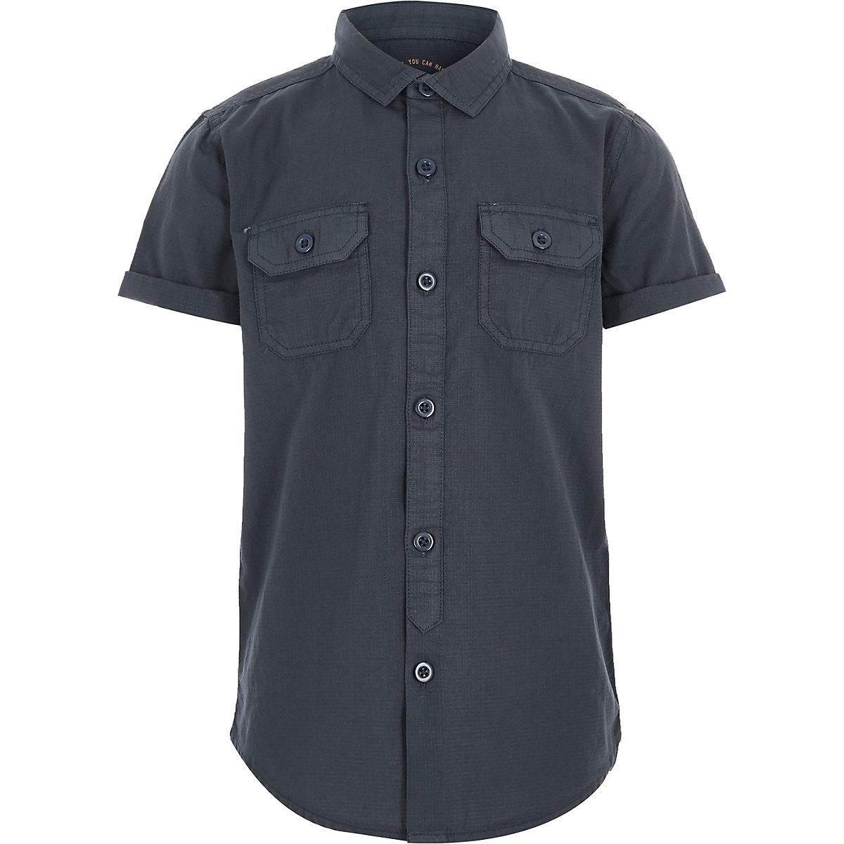 Boys blue short sleeve utility shirt