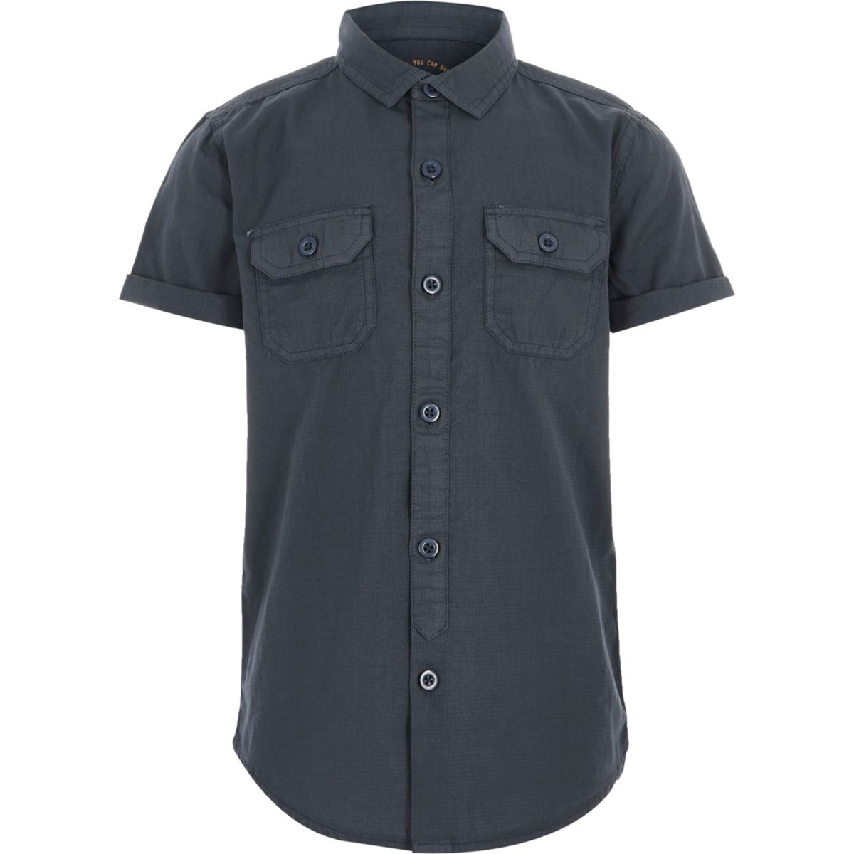Boys blue short sleeve utility shirt