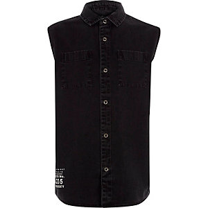 Boys washed black sleeveless denim shirt