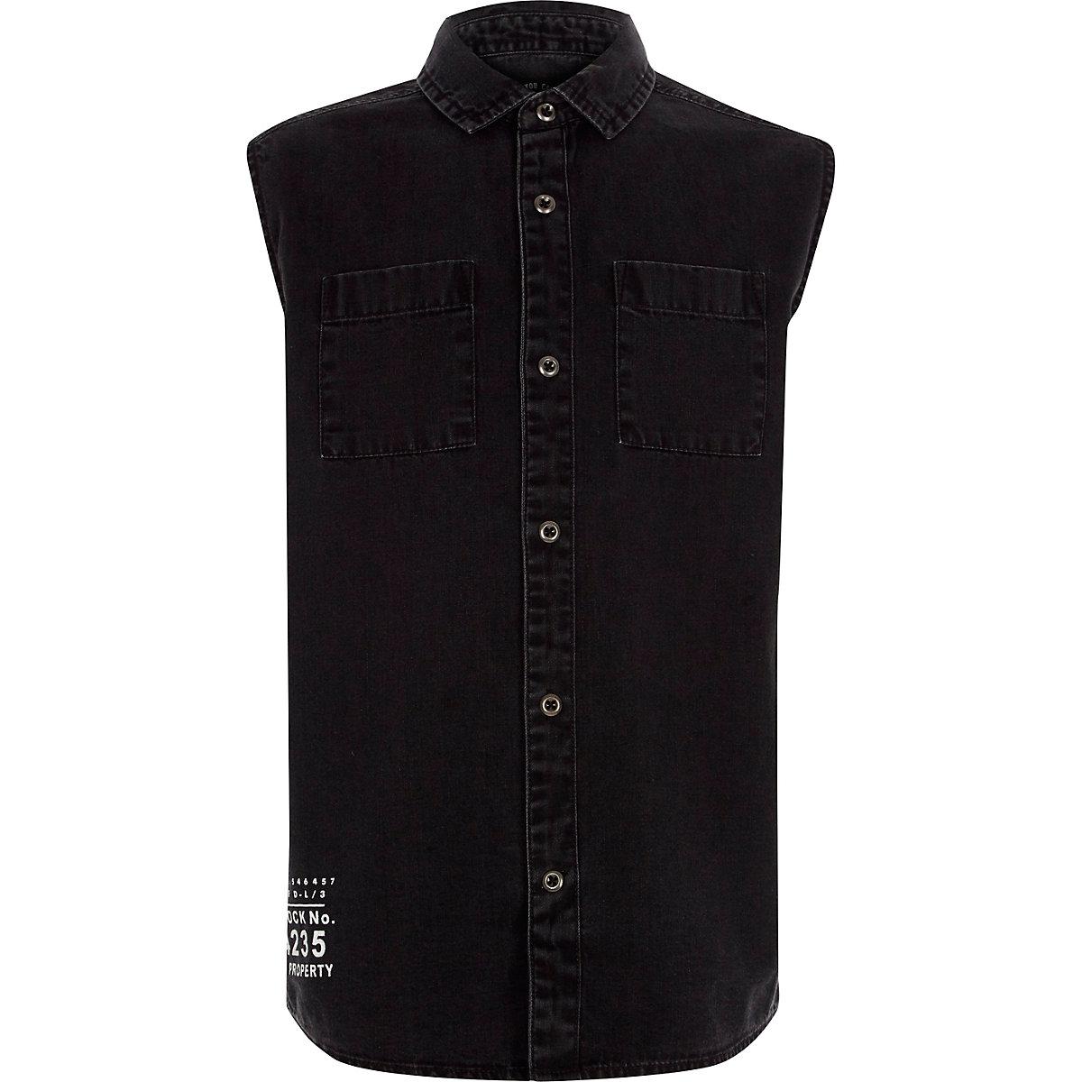 Boys washed black sleeveless denim shirt