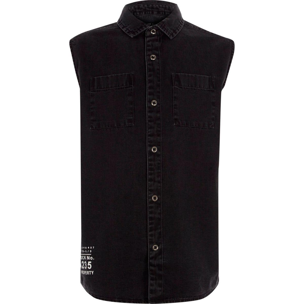 Chemise en jean noire délavée sans manches pour garçon