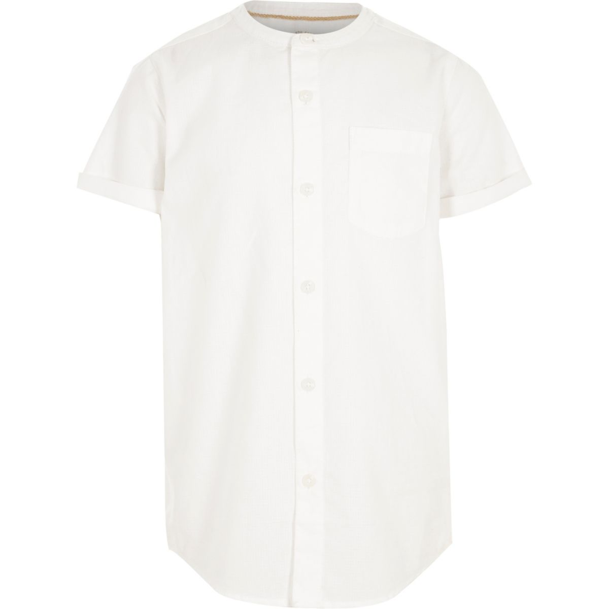 Boys white short sleeve grandad shirt