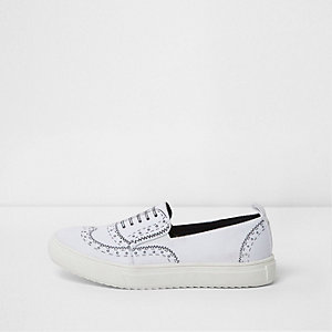 Boys white brogue print plimsolls