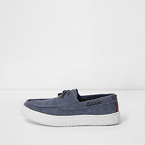 Boys blue washed canvas boat shoes