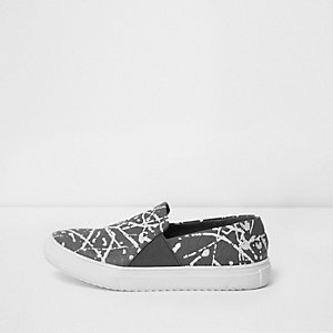 Boys grey graffiti slip on plimsolls