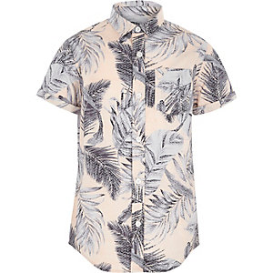 Boys pink leaf print short sleeve shirt