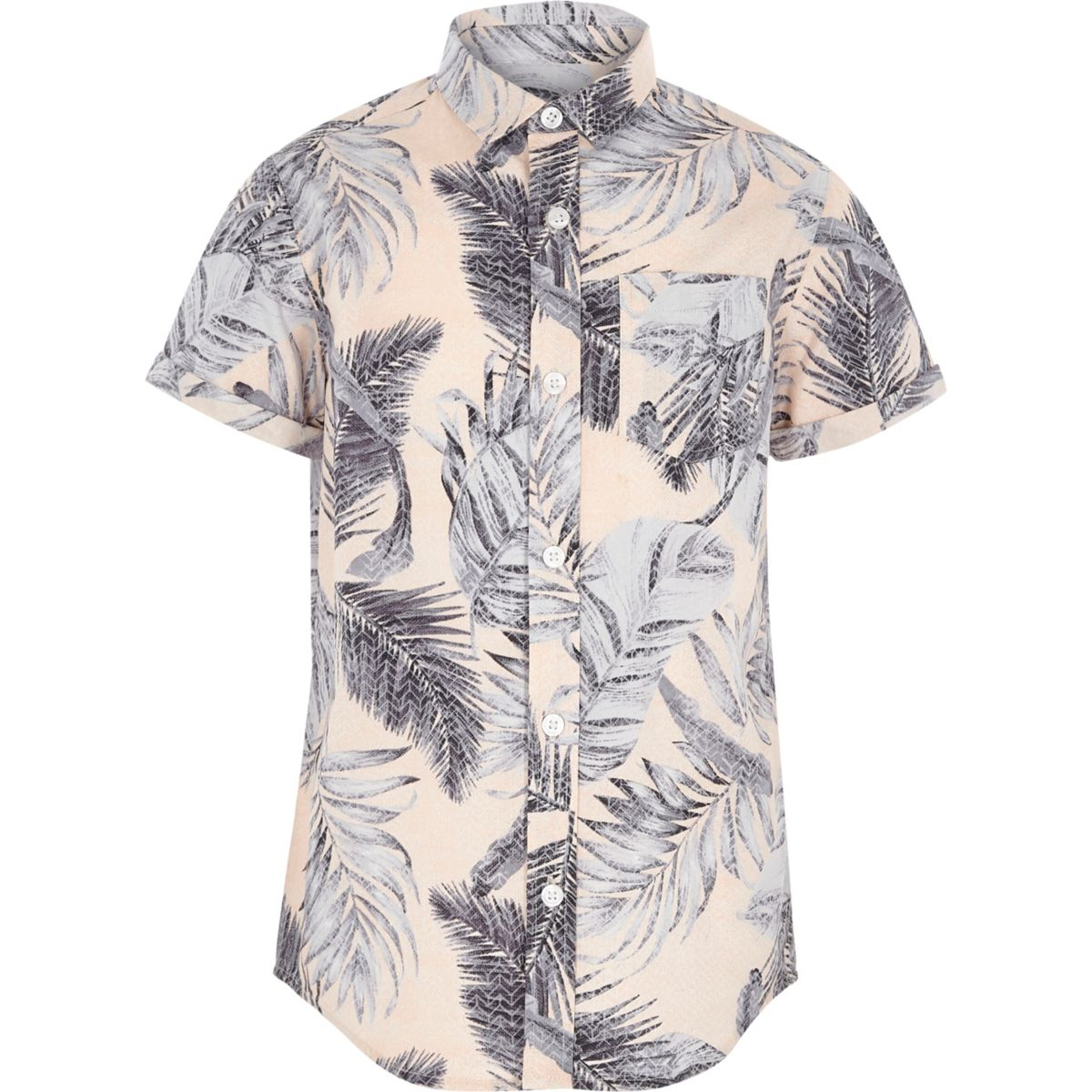 Boys pink leaf print short sleeve shirt