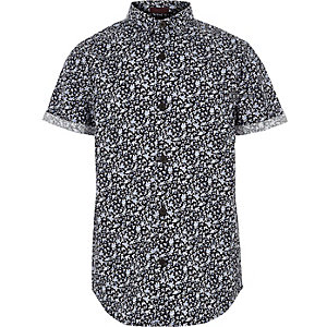 Boys blue ditsy floral short sleeve shirt