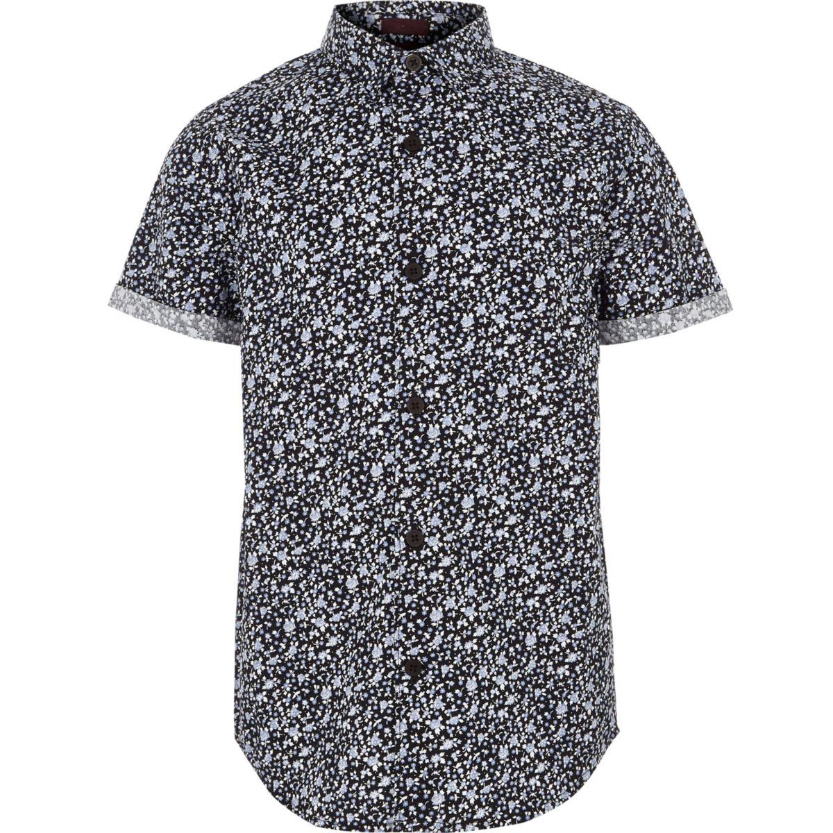 Boys blue ditsy floral short sleeve shirt