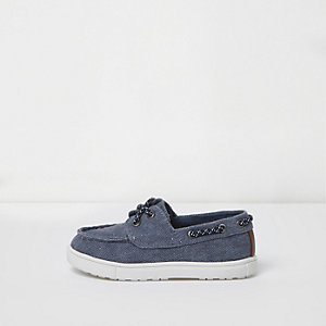 Mini boys blue washed canvas boat shoes