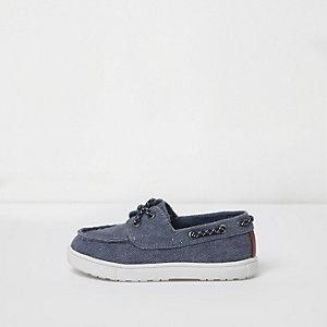Mini - Blauwe gewassen canvas bootschoenen voor jongens