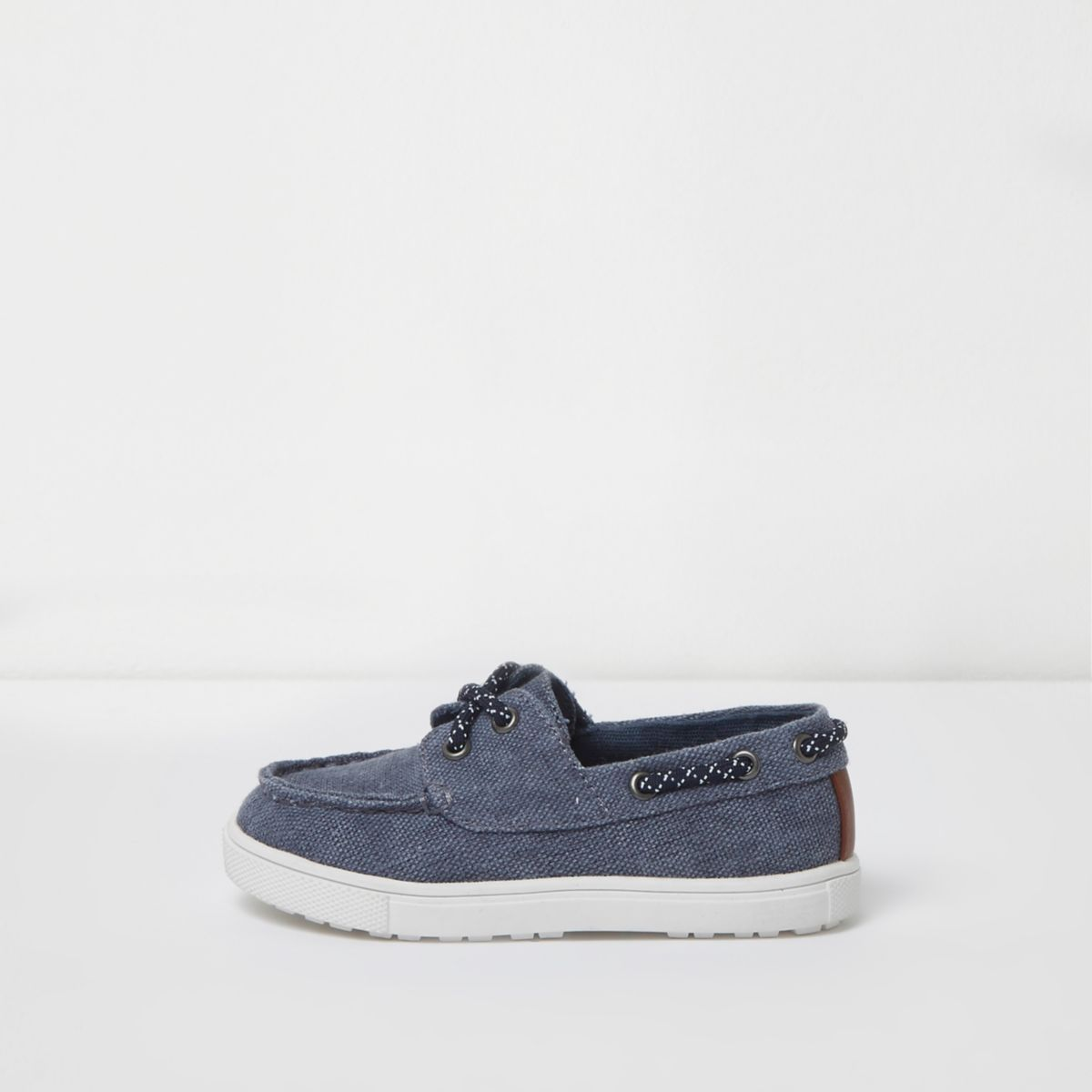 Mini boys blue washed canvas boat shoes Baby Boys Shoes