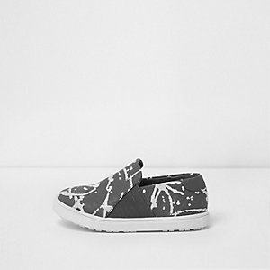 Mini boys grey graffiti slip on plimsolls