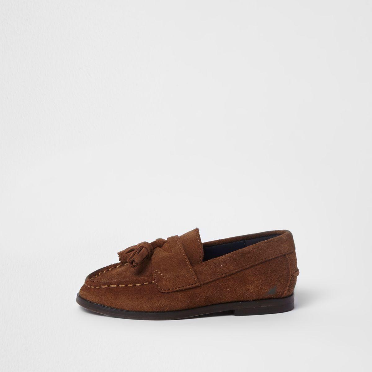 Mini boys brown tassel loafers