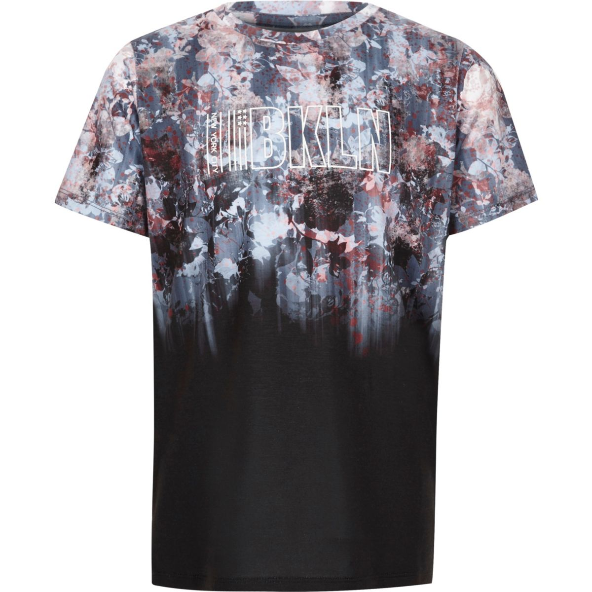 Boys black floral fade print 'Bkln' T-shirt