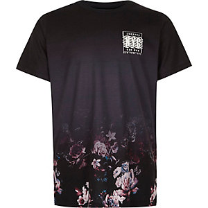 Boys black floral fade 'NYC' print T-shirt