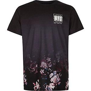 Zwart T-shirt met vervagende bloemenprint en 'NYC'-print voor jongens