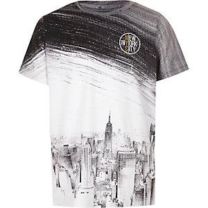 Zwart-wit T-shirt met New York-skyline-print voor jongens