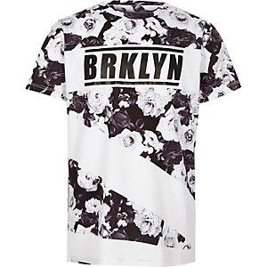 Boys mono 'Brkyln' floral print T-shirt