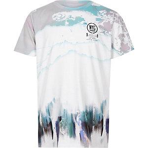 Boys white smudge print 'NYC' T-shirt