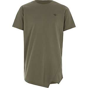 Boys khaki asymmetric hem T-shirt
