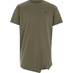 Kaki T-shirt met asymmetrische zoom voor jongens