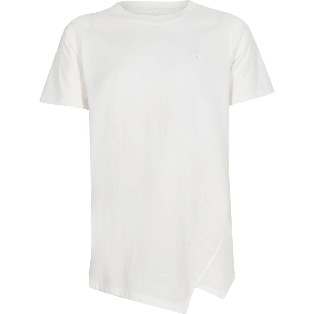 Boys white asymmetric hem T-shirt
