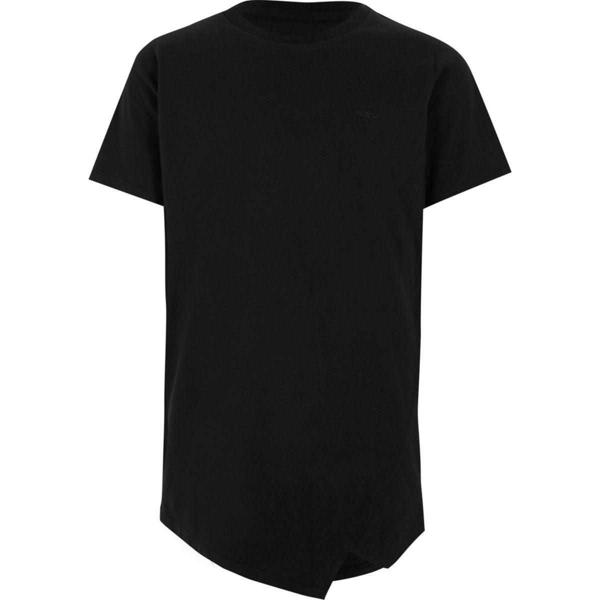 Boys black asymmetric hem T-shirt