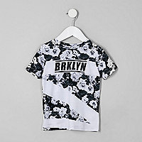 Mini boys white floral 'Brykln' print T-shirt