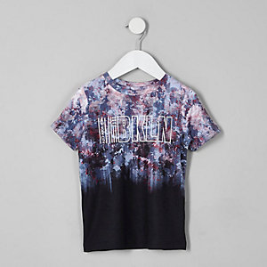 T-shirt noir «Bkln» à fleurs délavé mini garçon