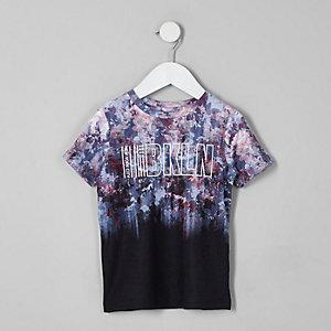 Mini - Zwart T-shirt met vervagende bloemenprint en en 'Bkln'-print voor jongens