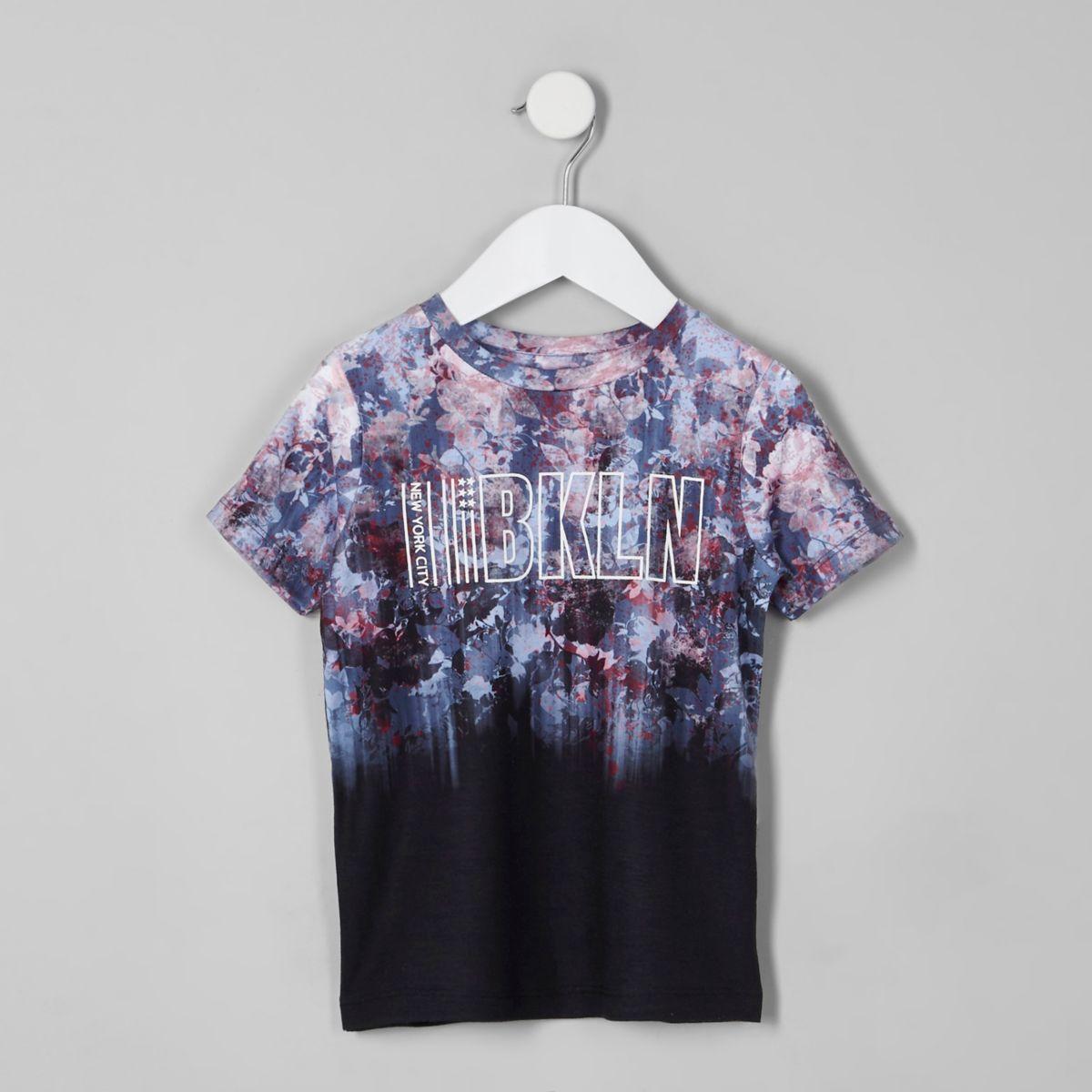 Mini boys black floral fade 'Bkln' T-shirt