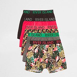 Multipack roze strakke boxers met tropische print voor jongens