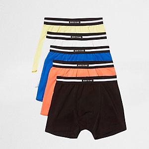 Multipack koraalrode pastelkleurige strakke boxers met RI-logo voor jongens