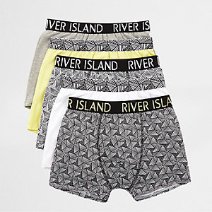 Boys lime geo print trunks multipack