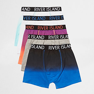 Boys blue marl RI branded boxers multipack