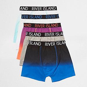 Multipack blauwe gemêleerde strakke boxers met RI-logo voor jongens