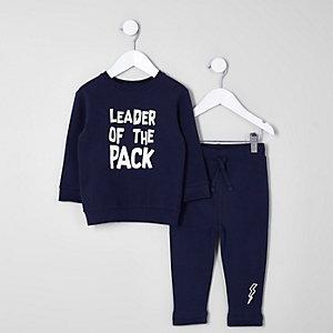 Mini - Outfit met marineblauw sweatshirt met 'Leader'-print