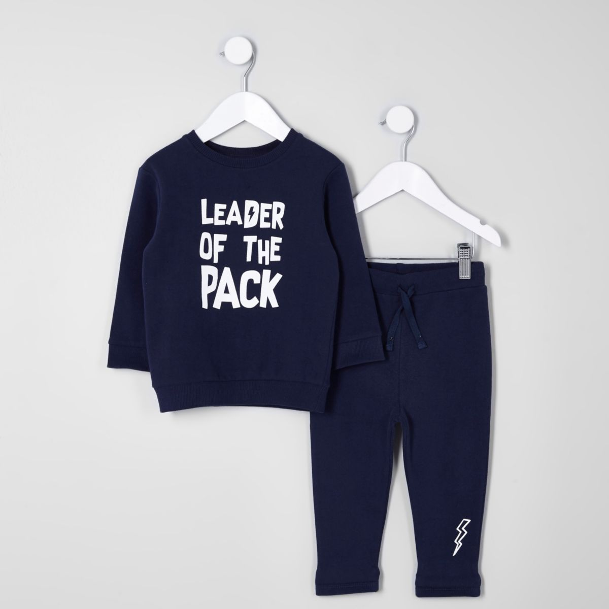 Mini boys navy 'leader' sweatshirt outfit