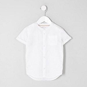 Mini - Wit overhemd zonder kraag met korte mouwen voor jongens