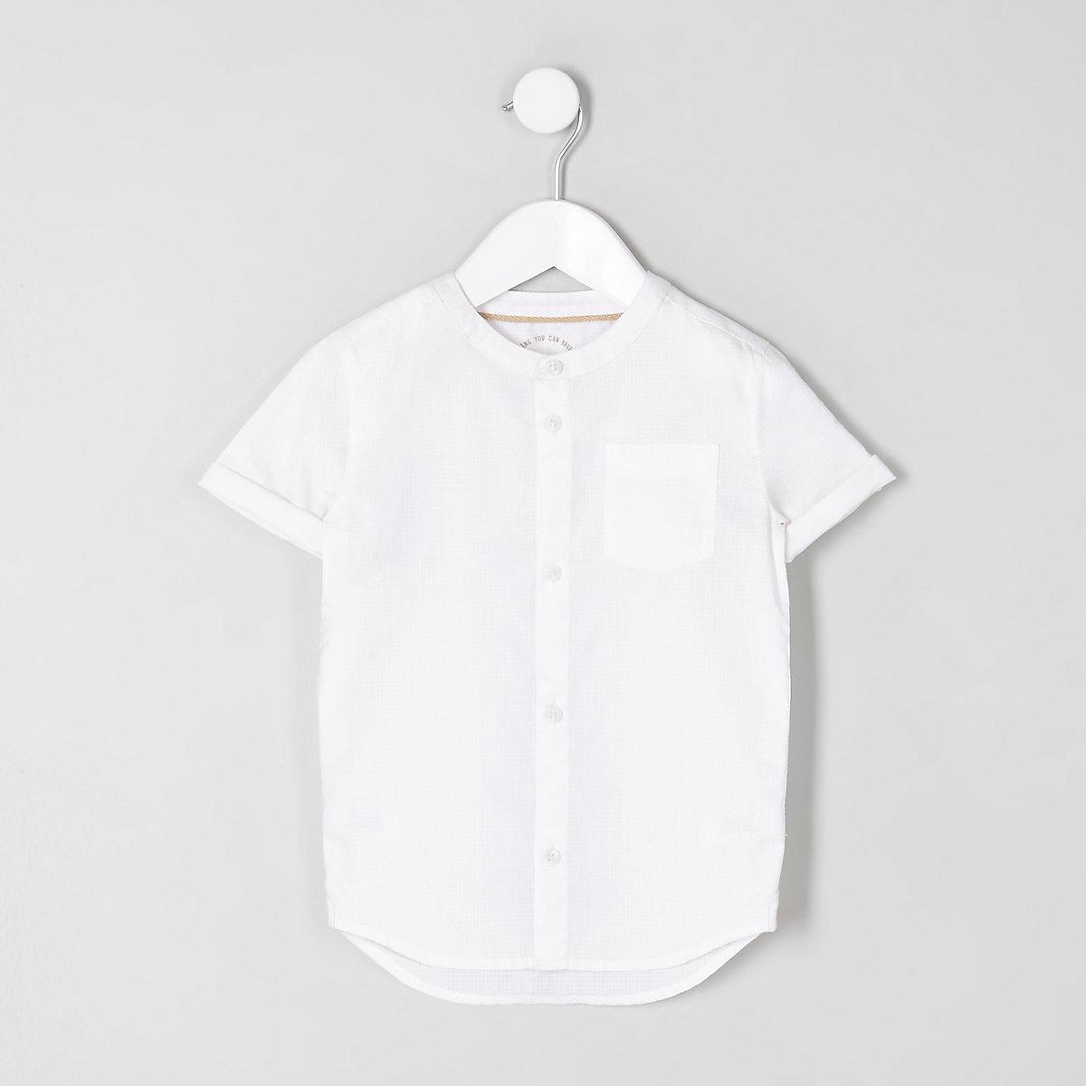 Chemise blanche à manches courtes et col officier mini garçon