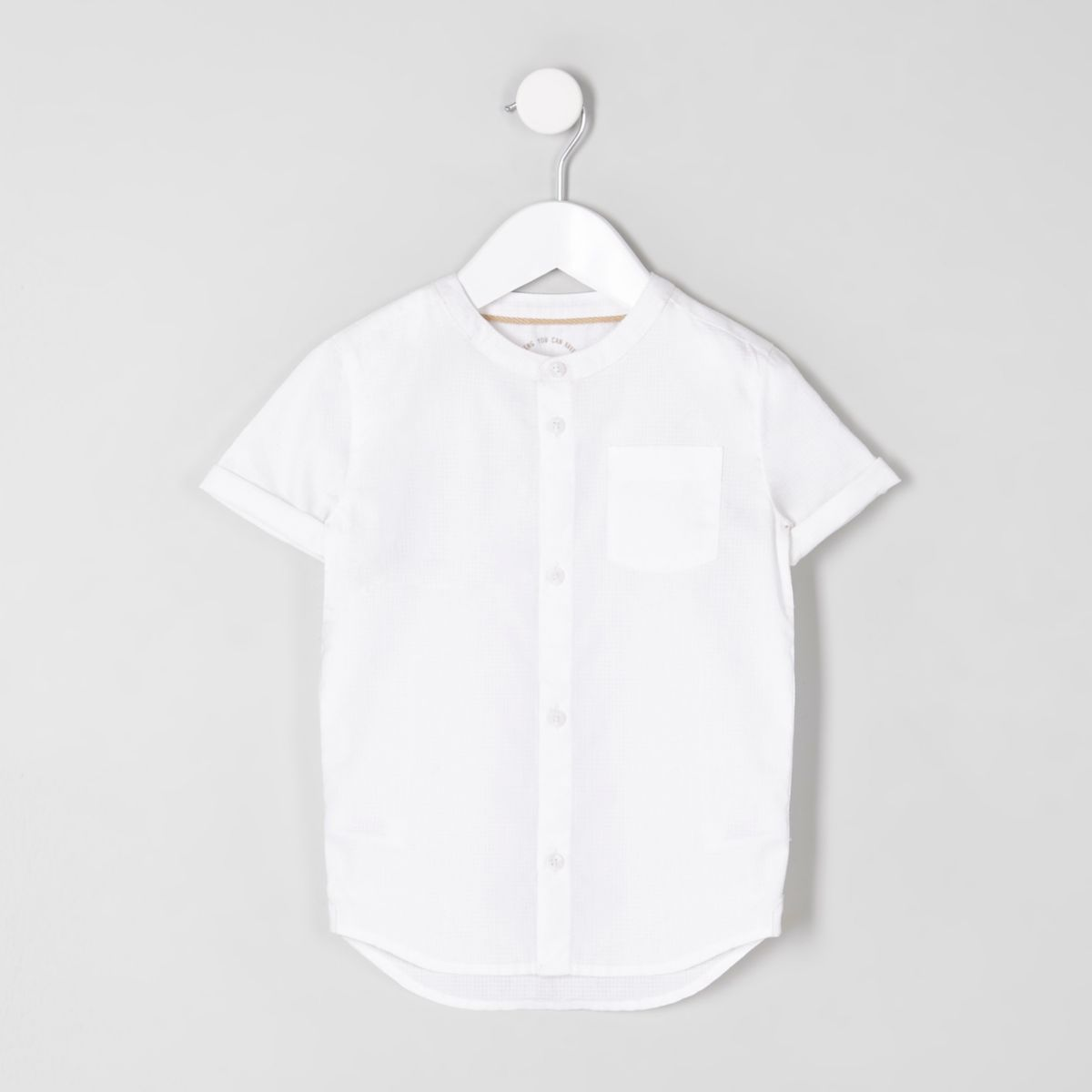 Mini boys white short sleeve grandad shirt