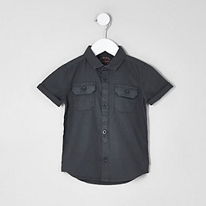 Mini boys blue short sleeve utility shirt